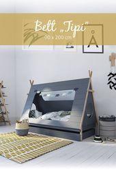 Kinbderbett Tipi 90 X 200 Cm Grau 200 Babybett Begehbarerkleiderschrank Bett Betten Boxspringbetten Ei In 2020 Kinderbett Tipi Jugendzimmer Bett