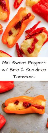 Mini Sweet Pepper Bites with Brie Cheese and Sundried Tomatoes
