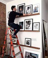 Love book ledges used for frames photos & art! #diy #photowall #gallerywall – Wohnen