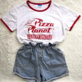 Funny Pizza Planet Humor Summer T shirt Red Edge Ladies Shorteavengifts