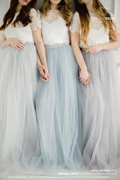 Grey Blue Palette Bridesmaids Belle Lace Dress, Long Grey Dusty Blue Waterfall Bridesmaids Skirt , Grey Engagement Prom Dresses Plus Size