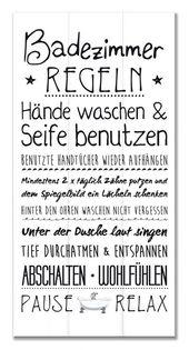 Wandschild Dekoschild Familien-Regeln Badezimmer Shabby Schild Sprüche Bad Tafe