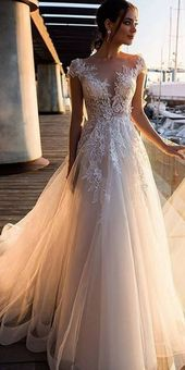 [198.50] Gorgeous tulle bateau neckline A-line wedding dresses with pearl appliqués & 3D flowers
