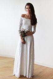 Schulterfreies 3/4-Ärmel-Brautkleid mit bodenlanger Spitze #Brautjungfer #Hochzeit #Brautjungfernkleid #Homedekor #q