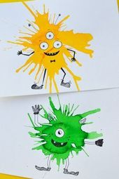 Friendly Monster Watercolour Blow Art with Straws