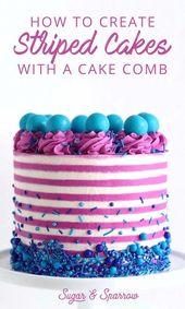 Erfahren Sie, wie Sie mit einem Wilton Icing Com eine makellose gestreifte Buttercremetorte …   – birthday cake