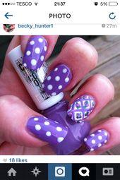 Nagel Kunst. Nägel. Lila. Blumen. Punktmuster. Sommernägel. Hübsche Nägel. IG: sei … –  #bl…