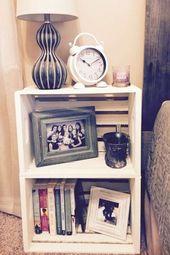 Ideen und Bilder für DIY-Kistenmöbel mit Holzkisten und Milchkisten #farmho …  – Wooden storage crates