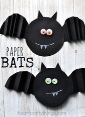 9a6c5eb9094d53d9799457ec3b5a0606  preschool halloween crafts halloween kids - Simple Accordion Fold Paper Bat Craft
