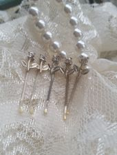 Bridal Hair Pin Set of 5 Mini Rhinestone Flower Vintage Flower girl Gift