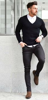 black pullover with a v-neck, white business shirt, black tight jeans, brown chelsea boots a