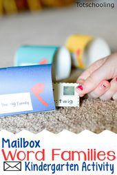 Mailbox Word Families Kindergarten Activity  – Totschooling Blog – Printables for Toddlers, Preschool & Kindergarten