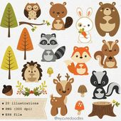Woodland clipart, cute woodland animal, woodland nursery baby shower supplies, woodland party decoration, cute fox clipart, baby bear – C031