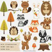 Woodland Clipart, süß Wald Tiere, Wald Kindergarten Baby-Dusche-Zubehör, Wald Party-Deko, Fuchs Clipart, Baby Bär – C031