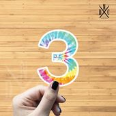"Number ""3"" Tie Dye Vinyl Sticker, Best Friend Gift, Laptop Decals, Name Stickers, Monogram, Macbook"