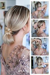 Einfache Frisuren Anleitung: Elegantes Brötchen im Nacken - Hochsteckfrisur