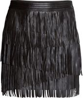 22e94e9660a Black Faux Leather Fringed Mini Skirt ( 49) ❤ liked on Polyvore featuring  skirts