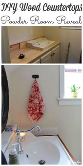 Powder Room Reveal – DIY – Arbeitsplatten aus Holz – #Co …