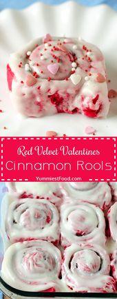 Red Velvet Valentines Zimtschnecken – Yummiest Food – #Food #Red #Valentines # …   – Valentinstag