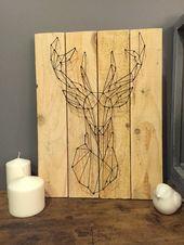 Tableau en palette, silhouette de Cerf, Origami, sur COMMANDE / Style scandinave , Bois de récupération , Tableau , Cerf / Oldwoods