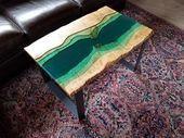 SOLD – Epoxy table – coffee table – live edge coffee table – epoxy and wood table – epoxy tab… – Creative Epoxy