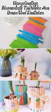 Blumentopf aus Konservendosen und Eisstäbchen: In diesen dekorativen Blumentöp…
