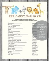 Baby Shower Candy Bar Game – Jungle Theme – baby shower ideas