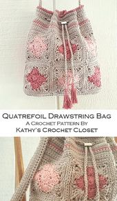 Crochet Bag PATTERN - Quatrefoil Drawstring Bag - Drawstring Bag Pattern - Granny Square Bag - DIY Crochet Purse - Crochet Purse Pattern
