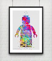 LEGO MAN Aquarell Print, Baby Boy Kinderzimmer Schlafzimmer Wandkunst, Kinder G ….   – Jungs Zimmer