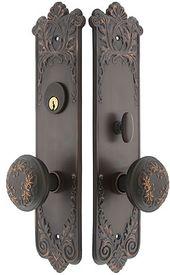 Lorraine Mortise Entry Set In Oil Rubbed Bronze 2 1 2 Backset Entry Door Hardware Front Door Handles Exterior Door Hardware