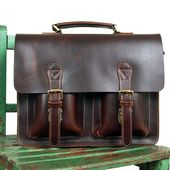 Handmade Superior Leather Briefcase / Messenger / 14″ 15″ Laptop 13″ 15″ MacBook Bag (n67-12)