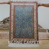 Yilong 2'x3' Hereke silk carpet blue handm…
