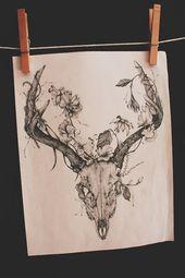 Skull antler tattoo | Artist unknown