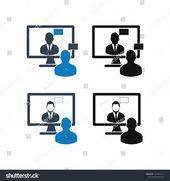 Video Chat Icon Set Flat Style Stock Vector (Royalty Free) 1515054212