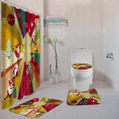 Weihnachten Weihnachtsmann Rutschfeste Toilettensitzbezug Teppichmatten Duschvor…