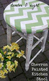 Chevron Painted Kitchen Stool-twelveOeight #chevro…