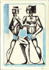 Anatoliy Chudinovskikh. Originale Sowjetische Postsowjetische Malerei Erotische Kunst sowjetische Gay Kunst. Tusche, Gouache auf Papier
