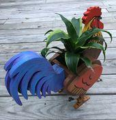 Rooster Animal Planter. Chicken. Wooden Garden Decorations. Handmade. Animal Lover. Indoor/Outdoor