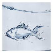 Leinwandbild Liquid Silver Fish East Urban Home Größe: 100 L x 100 B