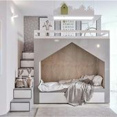 Kinderzimmer moderne graue weiße Bettkabine moderne Treppe mit Lagerung