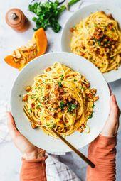 The best vegan carbonara with pumpkin · Eat this! Foodblog • Vegan Recipes • Stories
