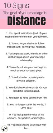 10 Tell All Signs the Goal of Your Marriage is Distance