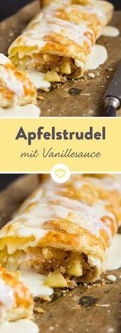 Strudel aux pommes avec pâte feuilletée et sauce à la vanille   – Meine Rezepte