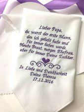 Deutsche Version Papa Hochzeit Taschentuch – Vater der Braut-Vater der Braut Hochzeit Taschentuch – bestickt-Gratis Geschenk-Box/1339