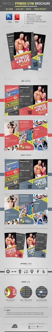 Gym and Fitness trifold flyer Gym, Flyer layout and Tri fold - gym brochure