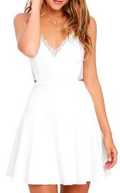 1a995d41ec Annora Champagne Satin Strappy Skater Dress