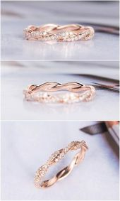Rose Gold Wedding Band Women Twist Diamond Wedding Ring Infinity Full Eternity Dainty Stacking Bridal Delicate Bridal Milgrain Antique Ring