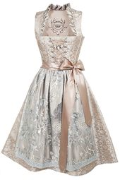Tramontana Midi dirndl wedding dirndl in taupe and silver