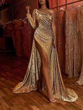 Girls's Elegant Slit Sloping Shoulder Paillette Night Costume
