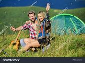 Love concept. Hiking romance. Couple in love happy relaxing nature background. S…